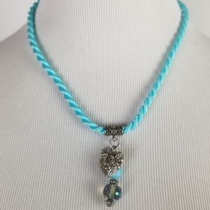 Jewelry - Light Blue Rope Necklace Heart Dragonfly Charms